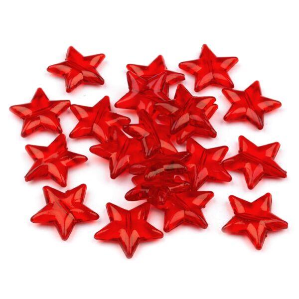 Csillag formájú műanyag dekorációs csomag - piros