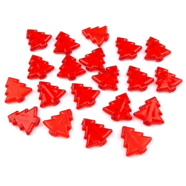 Fenyőfa formájú műanyag dekorációs csomag - piros