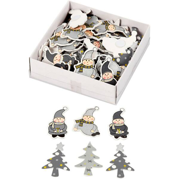 Öntapadós fa furnér dekorációs csomag - Christmas Elves