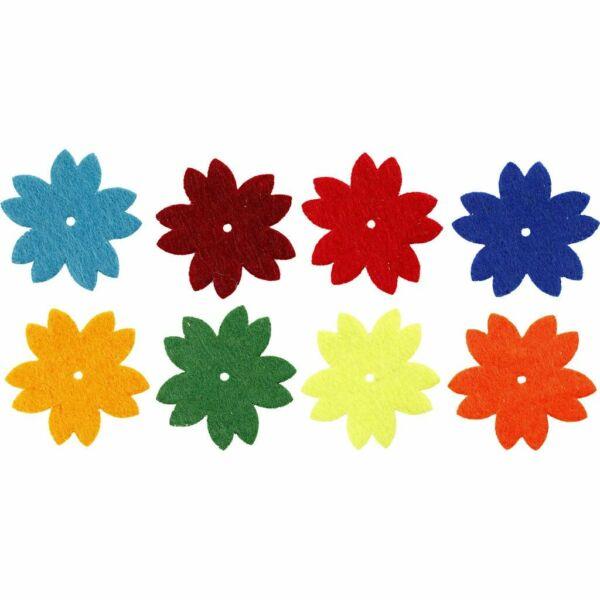 Öntapadós filc dekorációs csomag - virágok - 8db