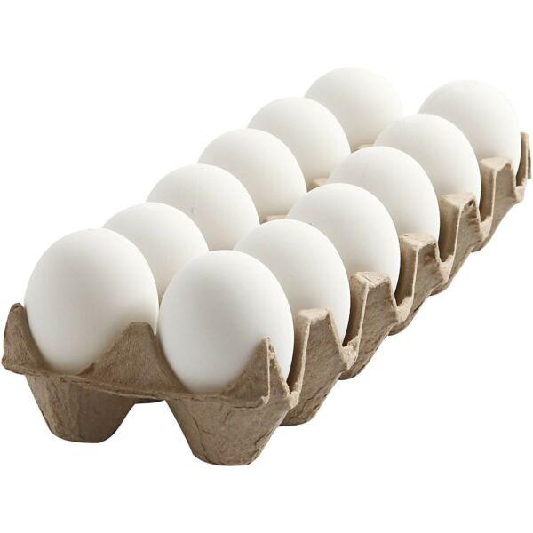 Élethű műanyag tojás szett - fehér