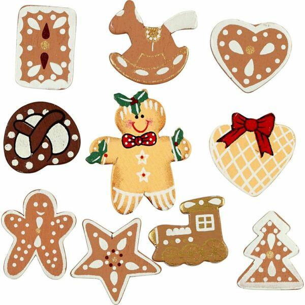 Öntapadós fa furnér dekorációs csomag - Gingerbreads - 10db