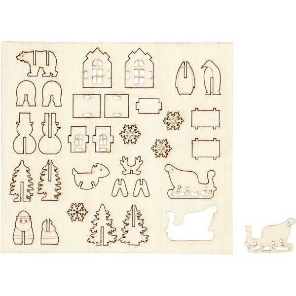 Csináld magad! fa furnér dekorációs készlet - karácsony