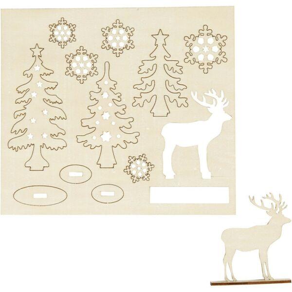 Csináld magad! fa furnér dekorációs készlet - rénszarvas erdőben
