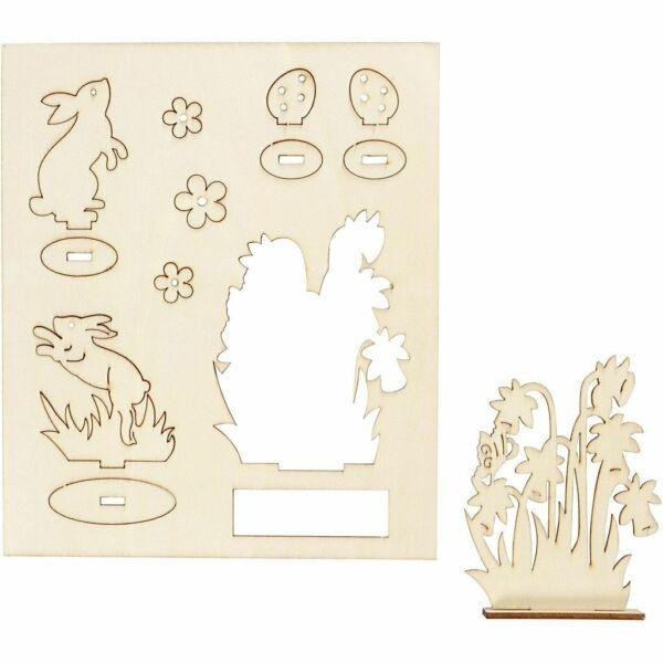 Csináld magad! fa furnér dekorációs készlet - nyuszik és virágok