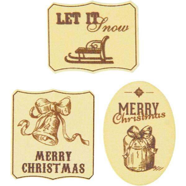 Öntapadós fa furnér dekorációs csomag - Merry Christmas