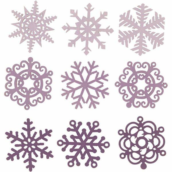 Fa furnér dekorációs csomag - Purple Ice Crystals - 9db