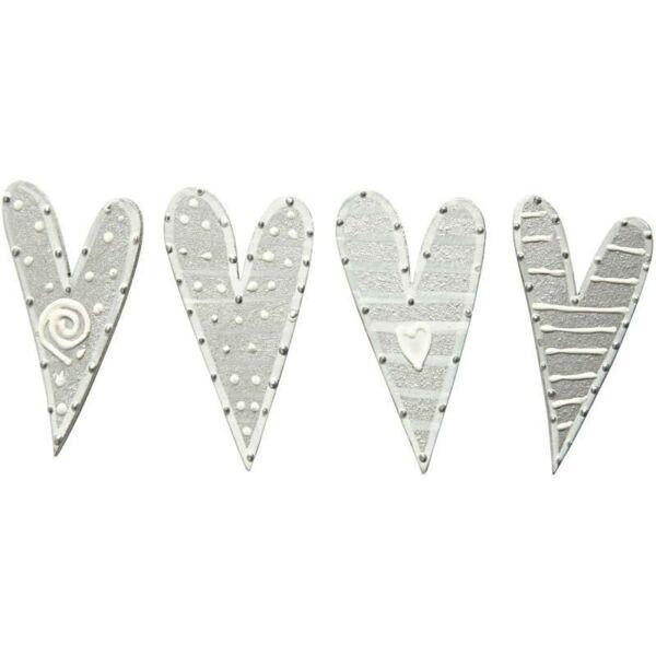 Öntapadós fa furnér dekorációs csomag - Silver Hearts