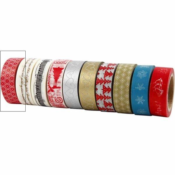 Karácsonyi dekortapasz - piros mintás