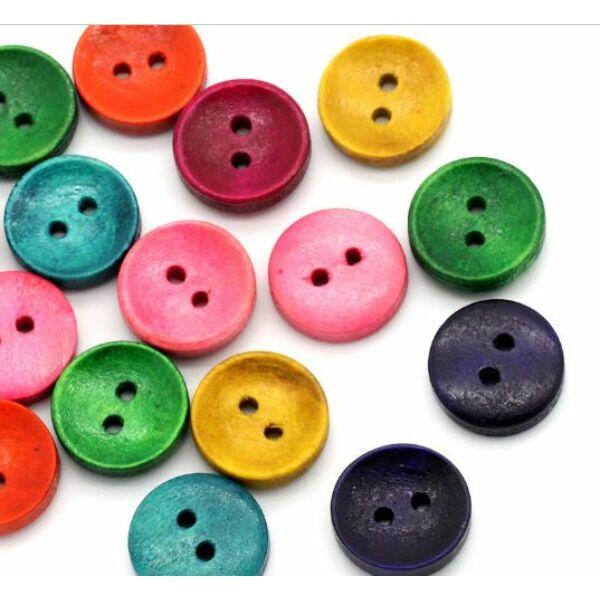 Egyszínű, festett fa gombcsomag - 10mm - 30db