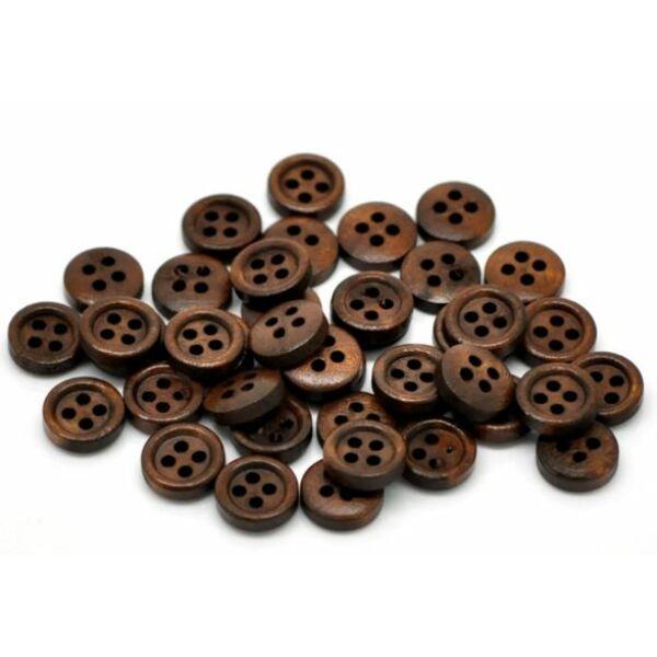 11mm-es 4 lyukú, fa gombcsomag - kávé