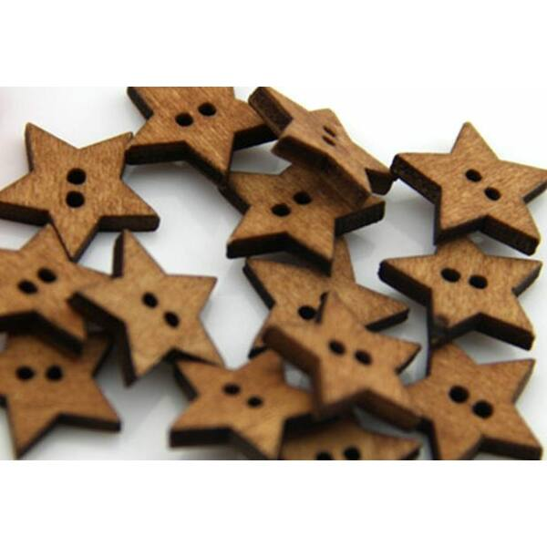 Barna csillag alakú fa gombcsomag