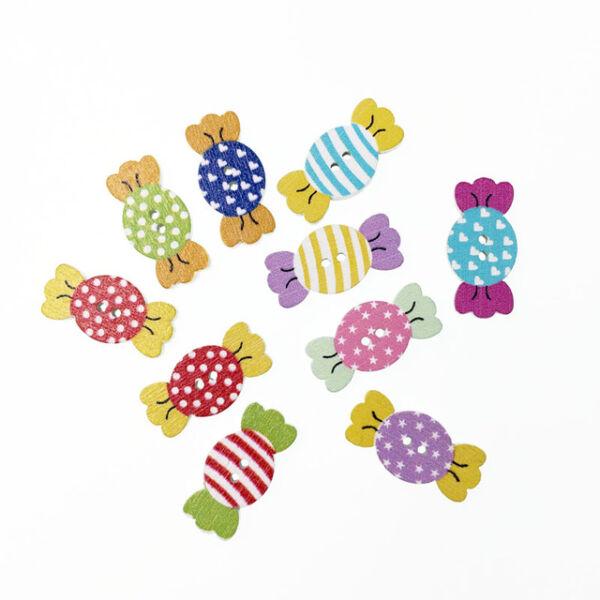 Cukorka formájú színes fa formagomb csomag