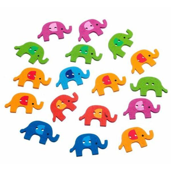 Elefánt formájú színes fa formagomb csomag