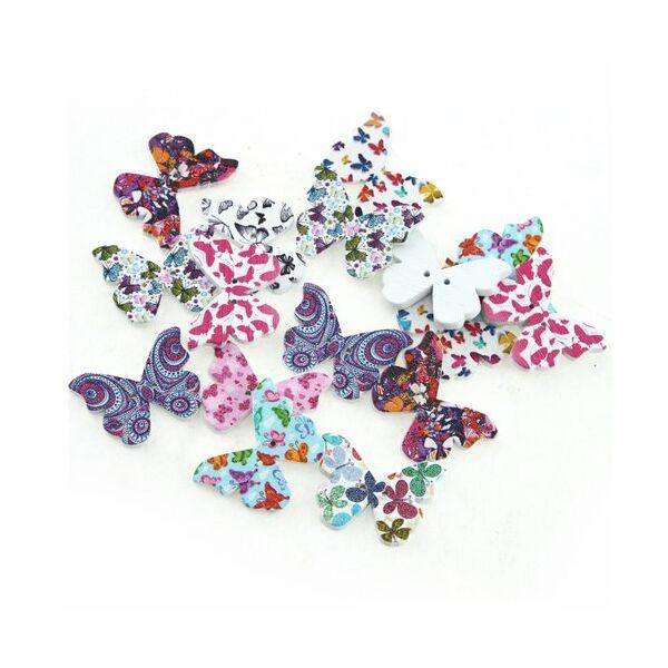 Pillangó formájú színes fa formagomb csomag