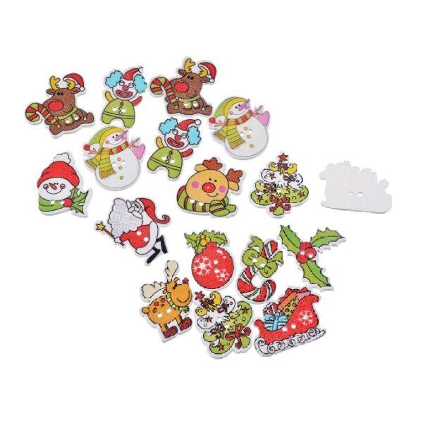 Karácsonyi figurák vegyes - színes fa formagomb csomag