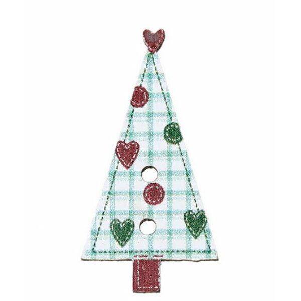 Kockás karácsonyfa - színes fa formagomb