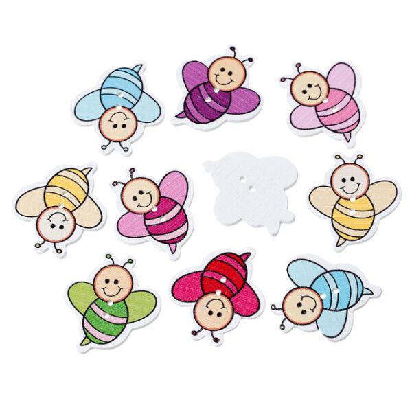 Méhecske formájú fa gombcsomag - 10db