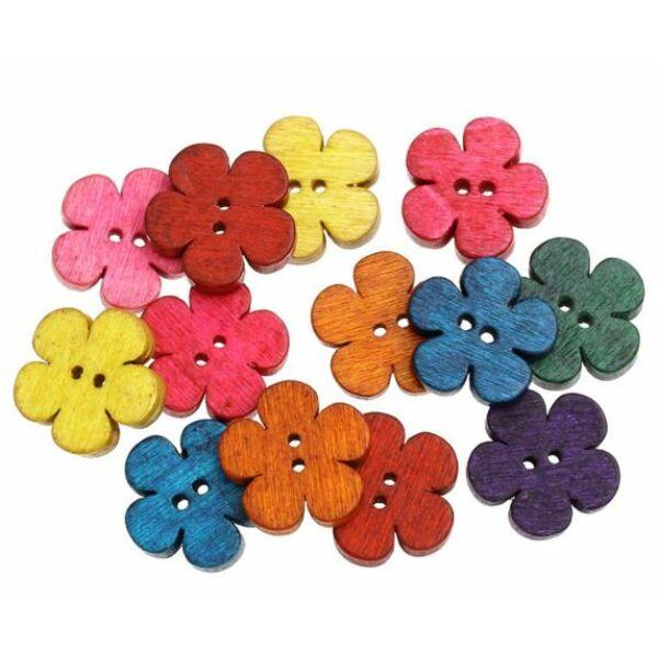 Színes virág alakú fagomb csomag - széles szirmú