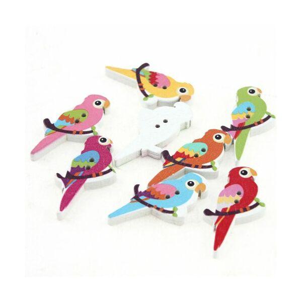Papagáj formájú színes fa formagomb csomag