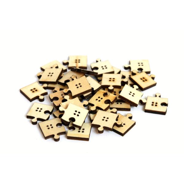 Puzzle formájú natúr fa furnér gombcsomag