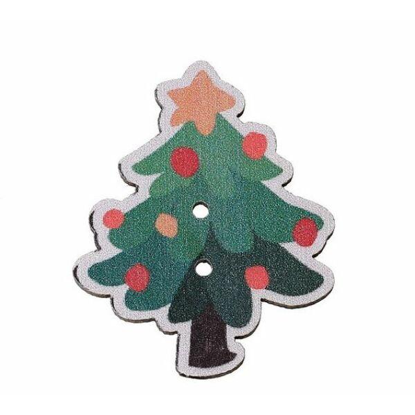 Pöttyös karácsonyfa - színes fa formagomb