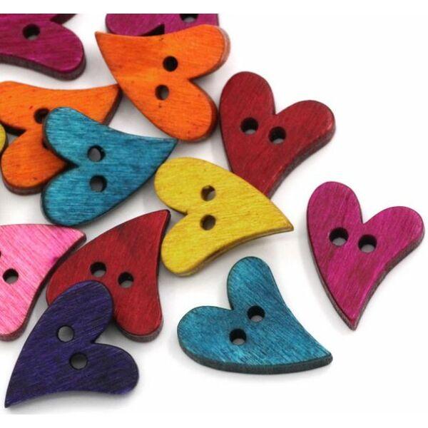 Szív alakú fagomb csomag - színes