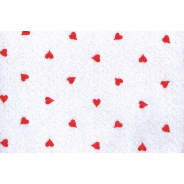 Fehér alapon szív mintás barkácsfilc