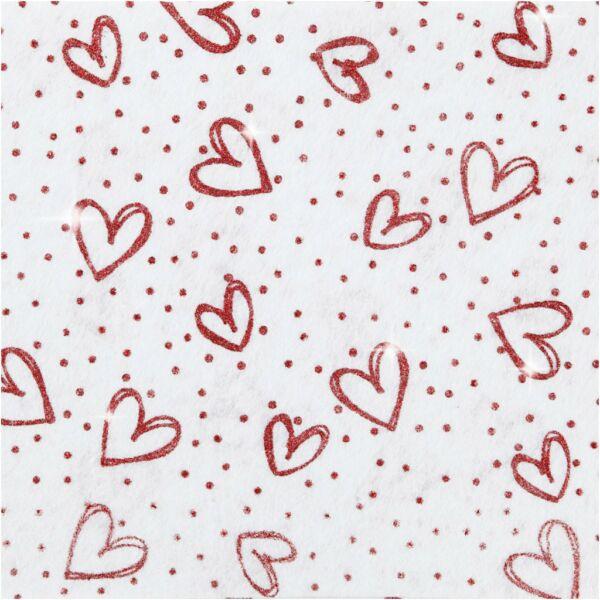Csillogó szív mintás barkácsfilc - merev - fehér