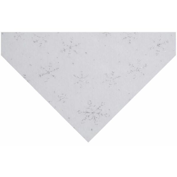 Csillogó hópihe mintás barkácsfilc - ezüst
