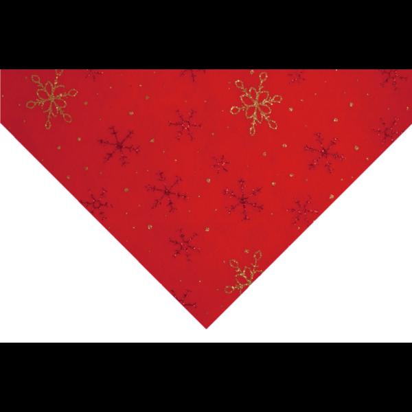 Csillogó hópihe mintás barkácsfilc - piros