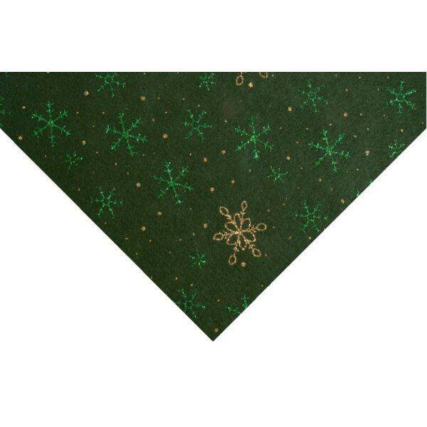 Csillogó hópihe mintás barkácsfilc - zöld