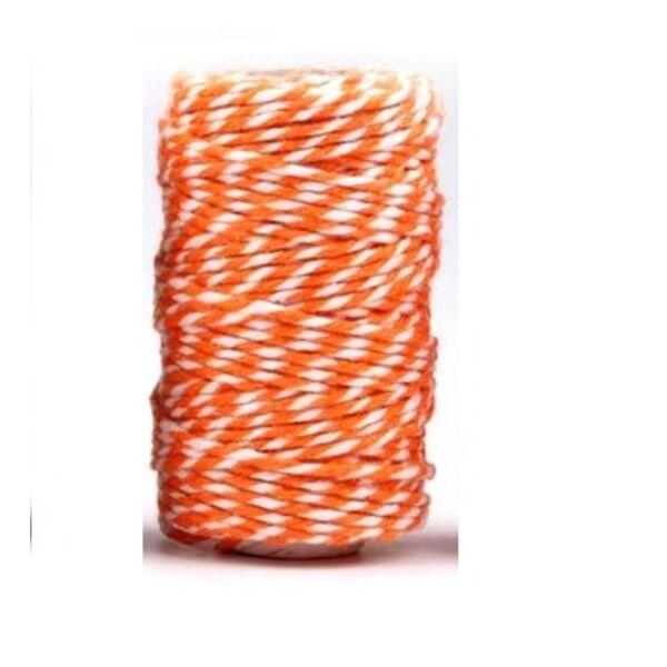 Narancs - fehér sodrott pamut zsinór - pékzsineg - 22,5m