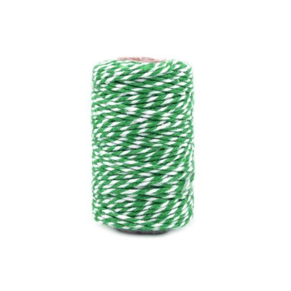 Zöld - fehér sodrott pamut zsinór zöld - pékzsineg - 22,5m
