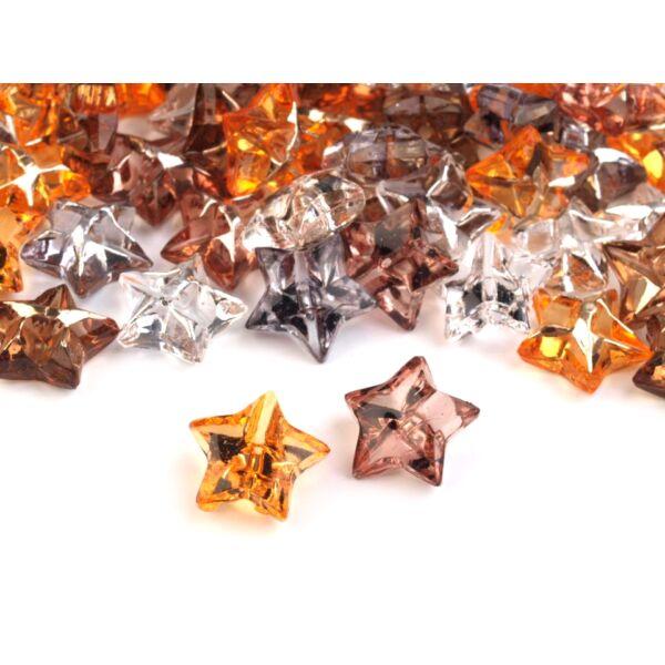 Csillag alakú áttetsző színes műanyag gombcsomag - 12mm - 10db