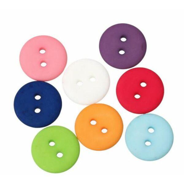 Egyszínű, színes műanyag gombcsomag - 18mm