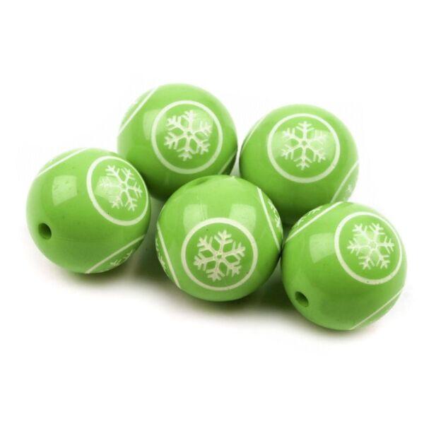 Zöld hópihe mintás dekor gyöngy - 18mm