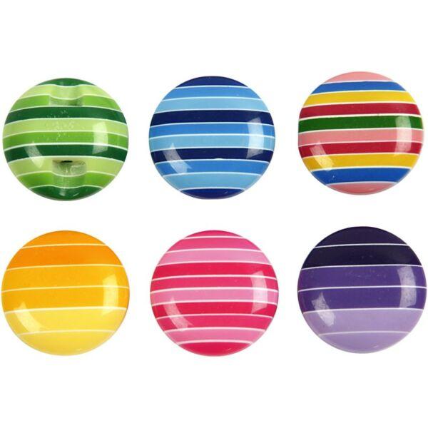 Csíkos buborék dekor gomb - színes