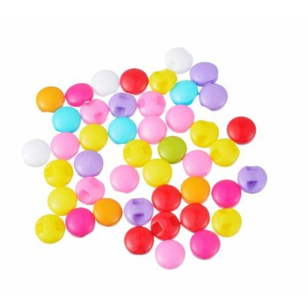 Egyszínű, színes műanyag buborék gombcsomag - 9mm