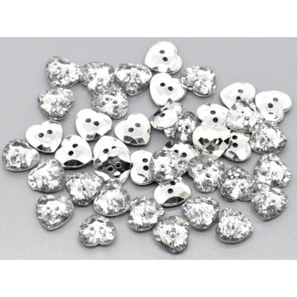 Csillogó ezüst akril szív gombcsomag