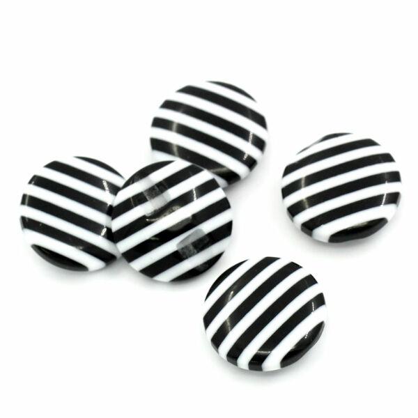 Csíkos buborék dekor gomb - fekete/fehér