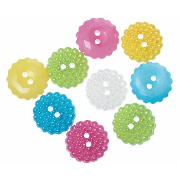 Apró virág formájú műanyag gombcsomag
