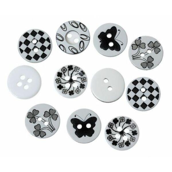 Fekete fehér mintás műanyag gombcsomag