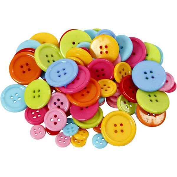 Műanyag teli színes gomb csomag ~ 20gr