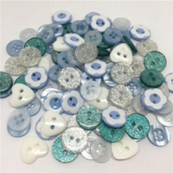 Vegyes műanyag gombcsomag - kék - 30db