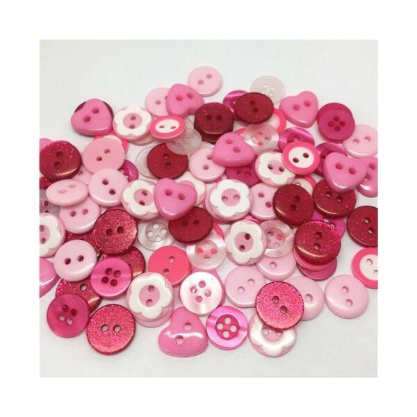 Vegyes műanyag gombcsomag - rózsaszín - 30db