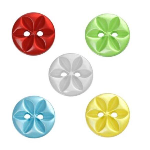 Egyszínű virág mintás műanyag gombcsomag