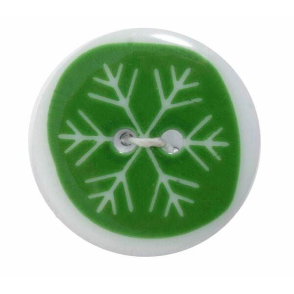 Karácsonyi gomb - Green Snowflake