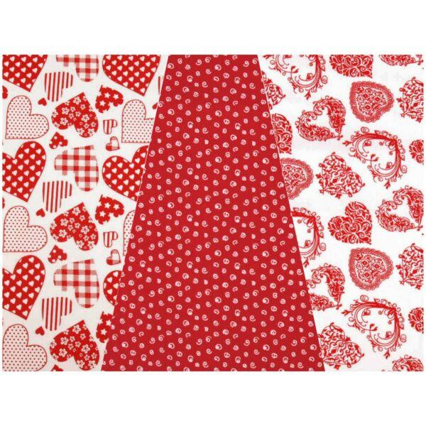 Mini pamutvászon csomag - piros szívek