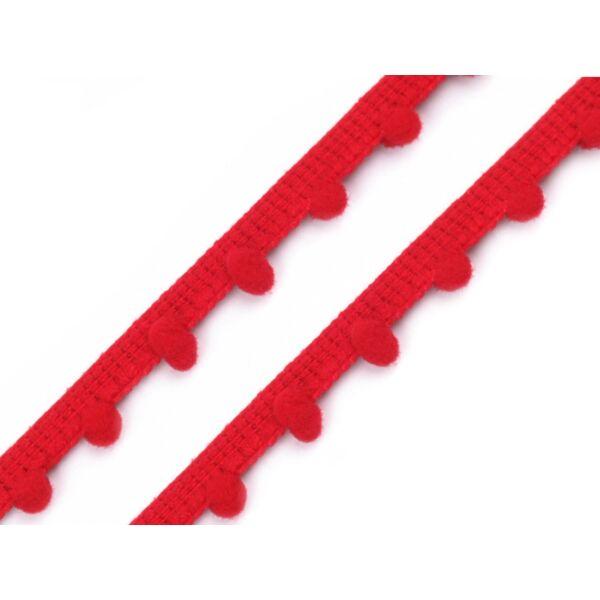 Piros pom-pom szalag - 7mm
